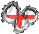 Bullet Hole Torn Metal 3 Shots With England English Flag Car Sticker 95x85mm